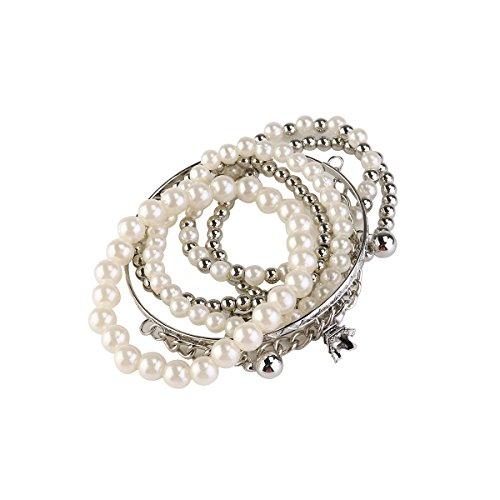 Tinksky Torre multicapa pulseras perlas joyería Vintage moneda perla