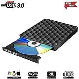 Externes CD DVD Laufwerk USB 3.0,Tragbar Extern Brenner DVD-RW Row für Windows, Mac OS, iMac, PC (Schwarz1)