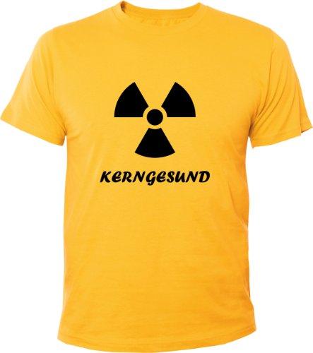 Mister Merchandise Cooles Herren T-Shirt Kerngesund AKW Kernenergie , Größe: L, Farbe: Gelb