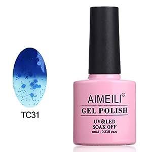 AIMEILI Soak Off UV LED Smalto in Gel che Cambia Colore con la Temperatura - Glitter Blu Scuro a Trasparente (TC31) 10ml