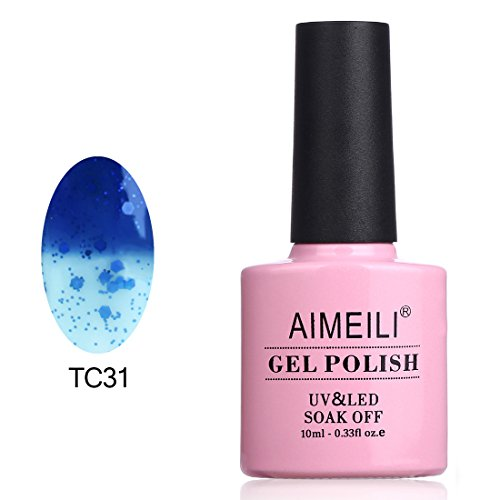 AIMEILI UV LED Gellack Thermo Nagellack ablösbarer Temperatur Farbwechsel Gel Nagellack Gel Nail Polish - Glitzer Dunkelblau auf Transparent (TC31) 10ml