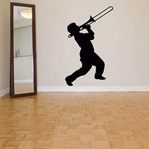 yaoxingfu Trombone Trumpet Removable Wall Stickers for Living Room Wallpaper Home Decoration Wall Decals Bedroom Boys Music Art Decor Yellow 57X95cm