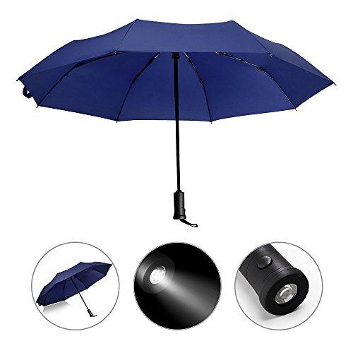 Automatik Regenschirm mit LED Griff, reflektierende wendbar Regenschirm faltbar Sicherheit, Regen und UV-Schutz Winddichte und wasserfeste, blau