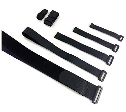 VELCRO® Brand wiederverwendbare Klett-Kabelbinder wiederverschließbar, mit Klett-Verschluss und Schnalle, universell einsetzbar, schwarz- 5cmx100cm 10 Stück -
