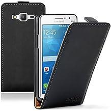 Membrane - Ultra Slim Negro Funda Carcasa para Samsung Galaxy Grand Prime (SM-G530H) - Flip Case Cover