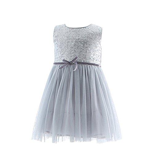 Bebone Vestido sin Manga Algodon Princesa para niñas en Boda Fiesta (Gris,6años)