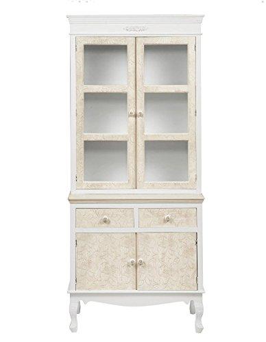 Credenza con alzata bianca e avorio in legno con intarsi stile vintage L'ARTE DI NACCHI DS-51/52