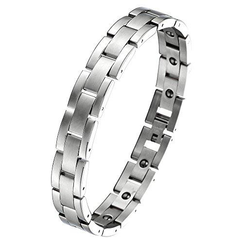 COOLSTEELANDBEYOND Zeitlos Magnetische Edelstahl-Armband für Herren mit Magnete Farbe Silber, Link-Tool zum Entfernen Enthalten