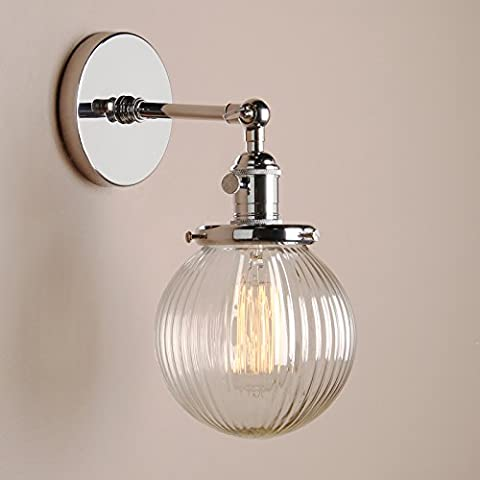 Pathson 15cm Industrial Modern Vintage Retro Wall Lights, Loft Bar Kitchen Sconce Lights Lamp Fixture with Ribbed Globe Clear Glass Light Shade (Chrome)