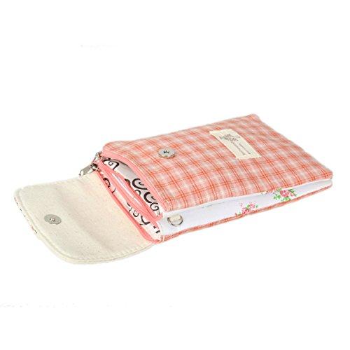 Damara® Süß Damen Täglicher Streifen Handy Segeltuch Umhängetaschen Rot