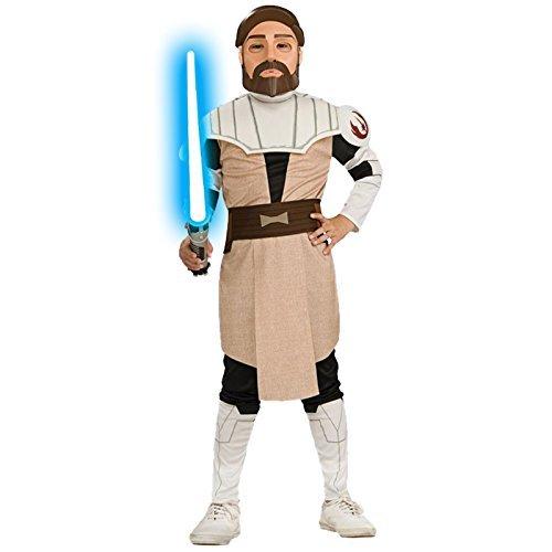 der Kostüm Clone Wars Obi Wan Kenobi L 7-9 Jahre Kinderkostüm Starwars Outfit Verkleidung (Obi Wan Clone Wars Kostüm)