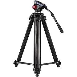 """Trépied de Vidéo, Andoer 84-180cm 8KG/17,6lbs Trépied Appareil Photo avec Tête Hydraulique 360° et Plateau Rapide de 1/4"""" et 3/8"""" ,Trépied Caméra en Alliage d'Aluminium pour Canon Nikon Sony DSLR"""