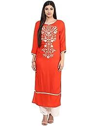 Jaipur Kurti Orange & Off-White Embroidered Kurta With Palazzo Trousers