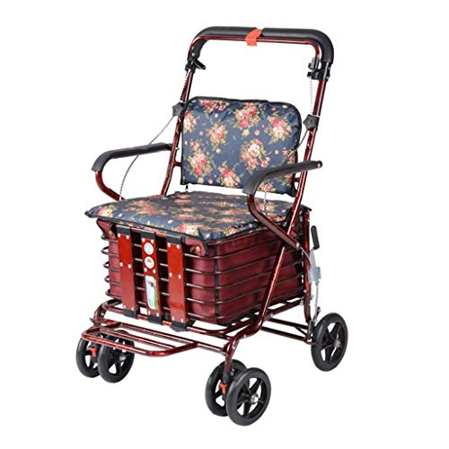 PNYGJZXQ Ältere Walker Rehabilitation Exercise Walker verdicken Aluminium Klappwagen kann platziert Werden vierrädrigen Cane Warenkorb -