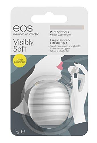 eos Visibly Soft Pure Softness Lip Balm, feuchtigkeitsspendende Lippenpflege, natürliche Intensiv-Pflege für trockene Lippen, Beauty-Helfer, 1 x 7 g -