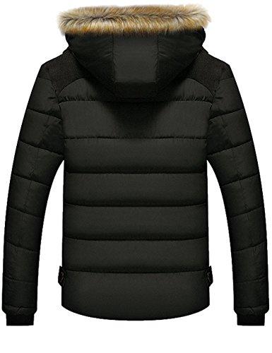 Menschwear Herren Winter Warme Jacke Daunenjacke Mantel Kurzmantel mit abnehmbarer Kapuze-Pelzkragenze Schwarz 6692