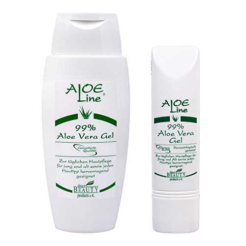 ALOE Line | Aloe Vera Set | 1x Aloe Vera Gel 99% (150ml) + 1x Aloe Vera Gel (50ml) | DERMATOLOGISCH GETESTET | Made in Germany