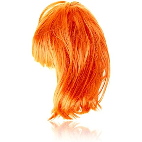 SourcingMap completa Fringe corto bob peinado cosplay peluca, Orange