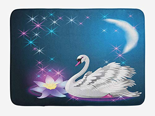 Icndpshorts Swan Bath Mat, Magic Lily and Fairy Swan at Night Swimming in Lake Under Moon and Stars Picture Art, Plush Bathroom Decor Mat with Non Slip Backing, 23.6 x 15.7 Inches, Blue White -