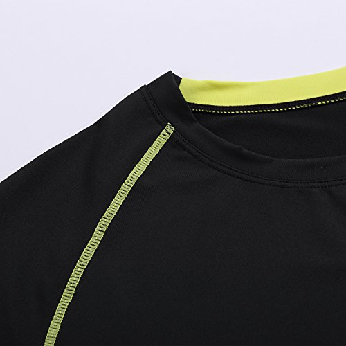 YCX Herren Leichtes Crewneck Kurzarm Cool Dry Kontrast Farbe Sport Kompression T-Shirt Schwarz8