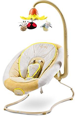 CARETERO Blossom Baby Schaukelwippe Schaukelsitz Babyschaukel Babywippe mit Musik-Mobile und Vibrationsmodul, Farbe:Beige