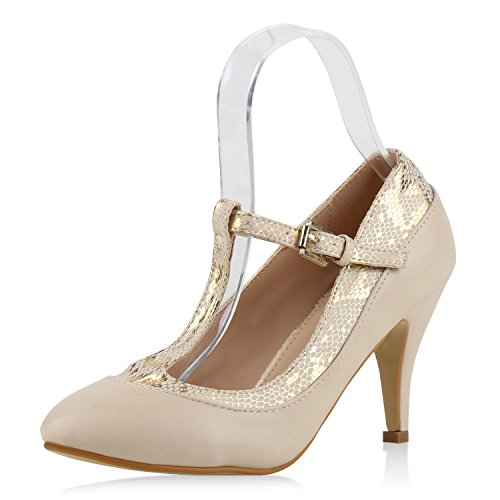 Woman Pumps Mary Janes Block Heel High Heels T-Strap Creme Snake UK 6.5 (EU 40)
