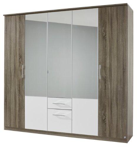 Rauch AJ087.086G Drehtüren-Kombischrank Arles, 5-türig, 3 Spiegeltüren, 2 Schubkästen, 226 x 212...