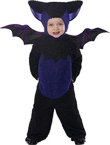 Smiffys, Kinder Unisex Fledermaus Kostüm, Jumpsuit mit Kapuze und Flügeln, Größe: T1 (Kleinkind Small), 32935