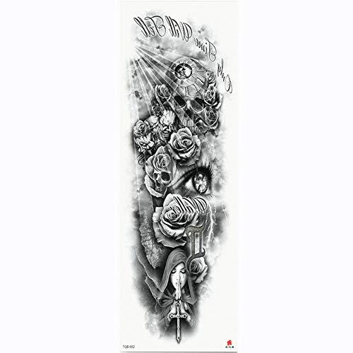 Manicotto del tatuaggio con trasferimento di acqua temporaneo per tatuaggio sul corpo del tatuaggio del braccio del fiore completo, confezione da 4,17×48cm