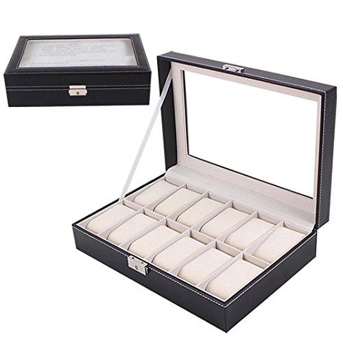 Grande Orologio di caso di esposizione dei monili del contenitore di cuoio di vetro 12 slot - Nero D'argento Dei Monili