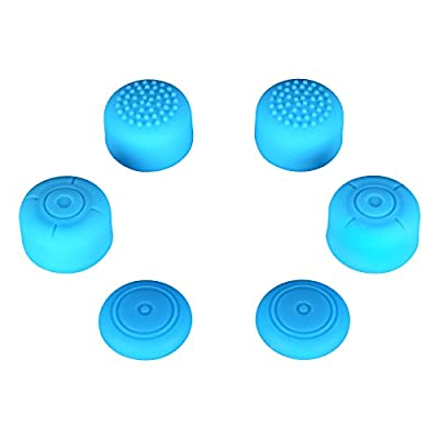 eXtremeRate® 3 Pairs Blue Silicone Anti-slip Thumbstick Caps for Nintendo Switch Joy-con Thumb Grips from Extremerate