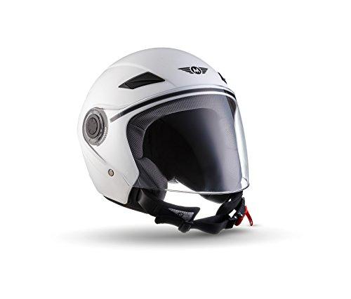 MOTO U52 Matt White · Urbano Casco Demi-Jet Vespa Mofa Piloto Retro Biker Cruiser Scooter Urban Vintage Bobber Helmet Moto motocicleta Chopper · ECE certificado · visera incluido · incluyendo bolsa de casco · Blanco · L (59-60cm)