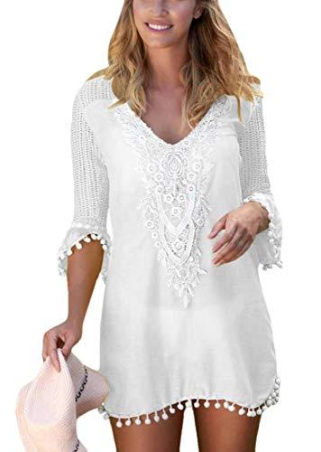 Strapless Terry (UUGYE Women's Pom Pom Lace Crochet Beach Dress Bikini Cover Up Swimwear White US 2XL)