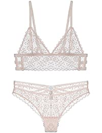 5950e856f632c MY AGLAIA Unlined Lace Triangle Bralette and Panty set Plunge Longline bra  set