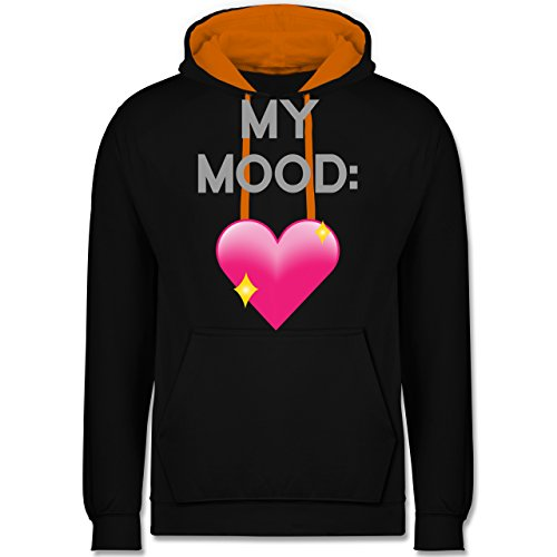 Statement Shirts - My Mood: Glitzerherz - Kontrast Hoodie Schwarz/Orange