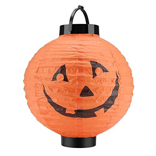 Winzwon Halloween Kürbis Laterne, Vintage Papier Laterne LED Lichterkette Halloween Papierlaterne für innen und außen Party Garten Dekoration 1 Stück (Batterie nicht im Lieferumfang enthalten)