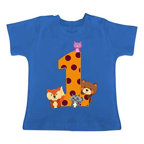 Geburtstag Baby - 1. Geburtstag Waldtiere - 6-12 Monate - Royalblau - BZ02 - Baby T-Shirt ()