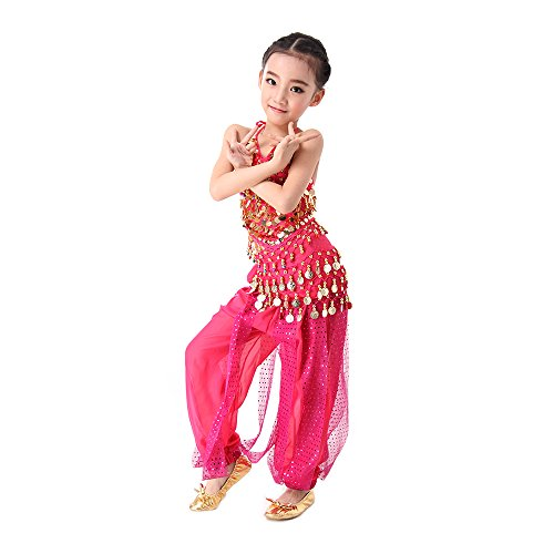 der Mädchen Bauchtanz Kostüm Set Tanzkleid Kinder Tanzkleidung Karneval Kindertag Kostüme Darbietungen Tanzkostüme, Das Obere + Pluderhosen Groesse L Rosa (Girls Indian Girl Kostüme)