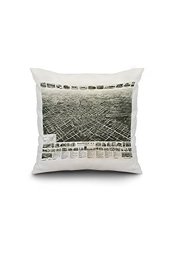Westfield, New Jersey - Panoramic Map (18x18 Spun Polyester Pillow Case, Custom Border)