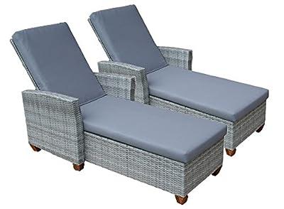 2erSet Sonnenliegen Lounge Liegen Gartenliegen aus Polyrattan inkl. 8 cm dicker Auflage, stabiler durchgängiger Aluminiumrahmen, Rückenlehne 5-fach verstellbar (ganz flach), Liegestuhl Geflecht aus Poly Rattan (Farbe Grau)