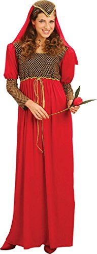 Lady Fancy Party Mittelalter Maiden Kostüm Maid Marian Julia Kleid + Kopfbedeckung UK Gr. UK Plus Size, Rot - ()