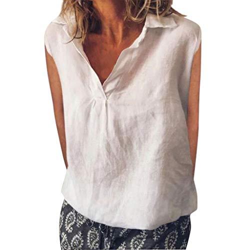TOPKEAL Top Damen Lose ärmellose Tägliche Feste Tägliche Freizeithemd-Blusen-Leinenoberteile Bluse Shirt Mode Oberteile Stripe Short Beanie