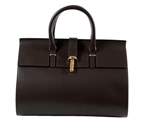 Designer italienische Tasche Leder Handbag Echtledertasche Handtasche Henkeltasche Shopper Kellystyle Glattleder Italy Tote Bag Tube Fass Clutch Braun Schoko Schokobraun Schokolade Dunkelbraun