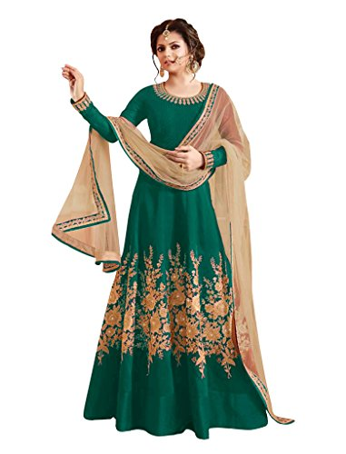 Sancom Brand New Designer Green Colour Bhagalpuri With Heavy Embroidery Anarkali Suit  available at amazon for Rs.1219