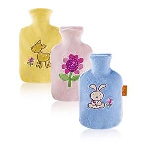Fashy Bouillotte en velours motifs et couleurs au choix Fashy 6505: crême application tigre, rose application zèbre, bleu application éléphant