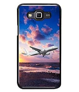 PrintVisa Designer Back Case Cover for GalaxyGrandMax (Sea Water Aeroplane Fly Sky Blue Man Poster Ocean)