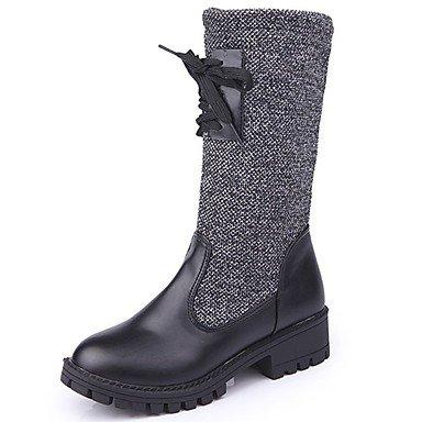 RTRY Scarpe Donna Pu Cadere La Moda Stivali Stivali Chunky Tallone Punta Tonda Bowknot Di Abbigliamento Casual Nero Black Us5.5 / Eu36 / Uk3.5 / Cn35 US7.5 / EU38 / UK5.5 / CN38