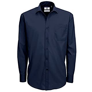 B&C Mens Smart Long Sleeve Poplin Shirt / Mens Shirts (S) (Navy Blue)