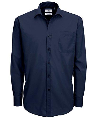 B&c - camicia manica lunga in popeline - uomo (4xl) (blu navy)