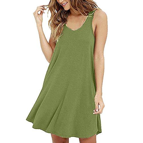 VEMOW Sommer Elegante Damen Casual Solid Oansatz Swing Einfache Sleeveless beiläufige tägliche Party Strand T-Shirt lose Camis Kleid(Grün, EU-44/CN-XL)